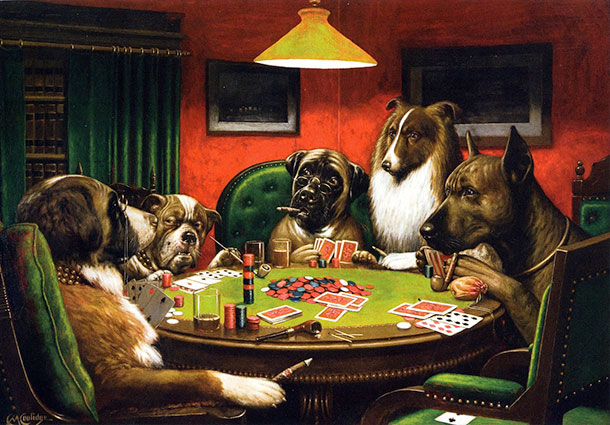 3 Cassius Marcellus Coolidge dogs playing poker