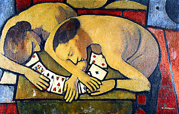 9 Women leaning on playing cards felice Casorati