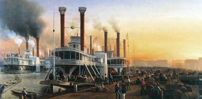 steamboats in the harbour of new orleans