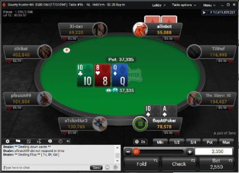 partypoker table flop 1