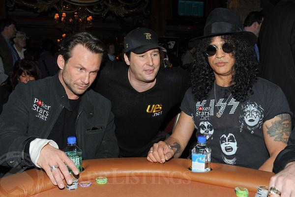 Christian Slater, Phil Hellmuth and Slash