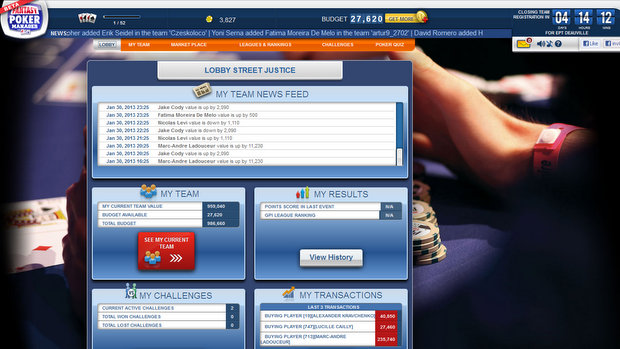 Fantasy Poker Manager on Facebook 2