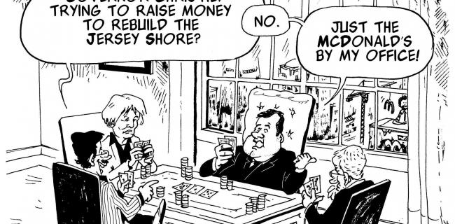 Governor Christie is playing cards to rebuild after Sandy