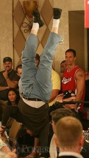 A Player Does a Handstand