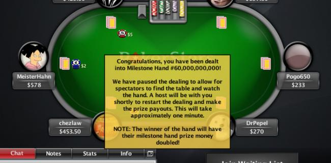 Pogo650 Pockets $102,090 in PokerStars 60 Billionth Hand